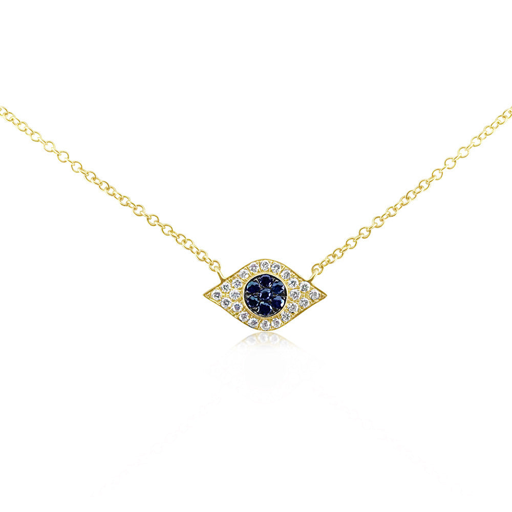 Diamond and Sapphire Evil Eye Necklace Yellow Gold