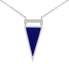 Lapis and Diamond Triangle Necklace White Gold