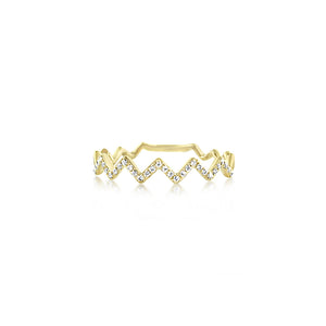 Zig Zag Diamond Ring Yellow Gold
