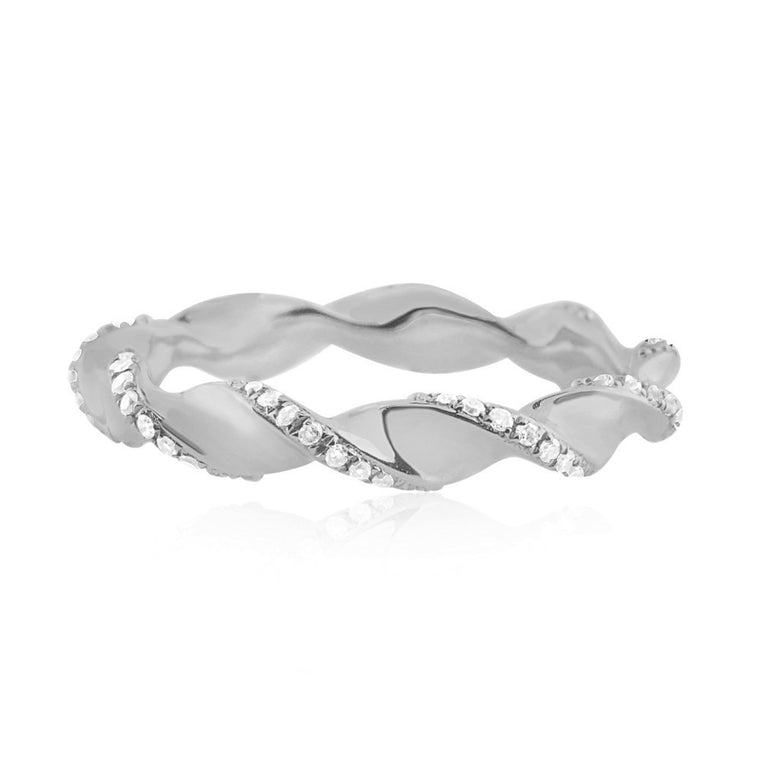 Diamond Twist Ring White Gold