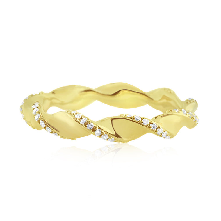 Diamond Twist Ring Yellow Gold
