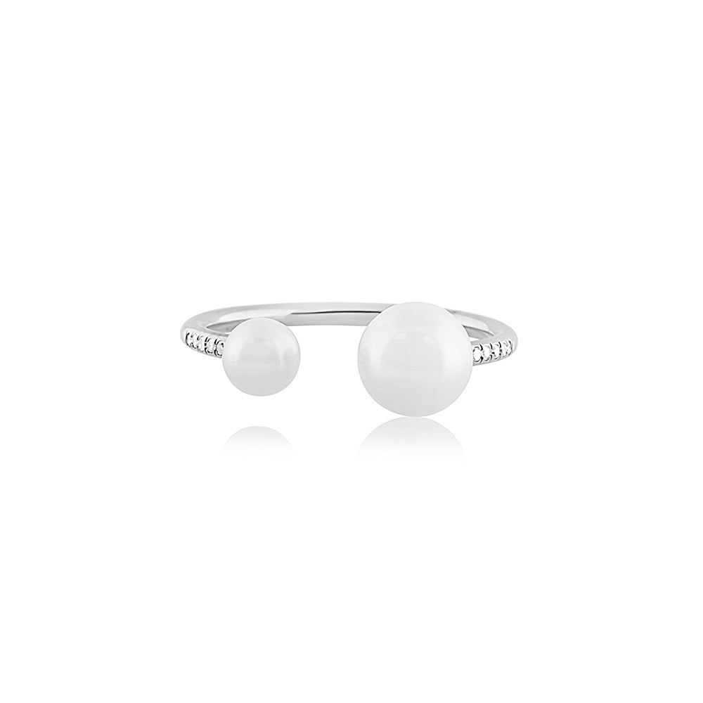 Diamond and Pearl Open Ring White Gold