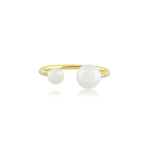 Diamond and Pearl Open Ring Yellow Gold