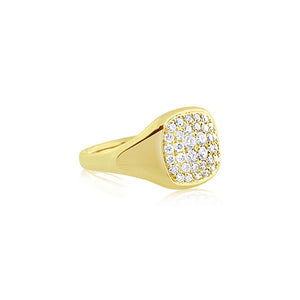 Diamond Signet Ring Yellow Gold
