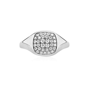Diamond Signet Ring White Gold
