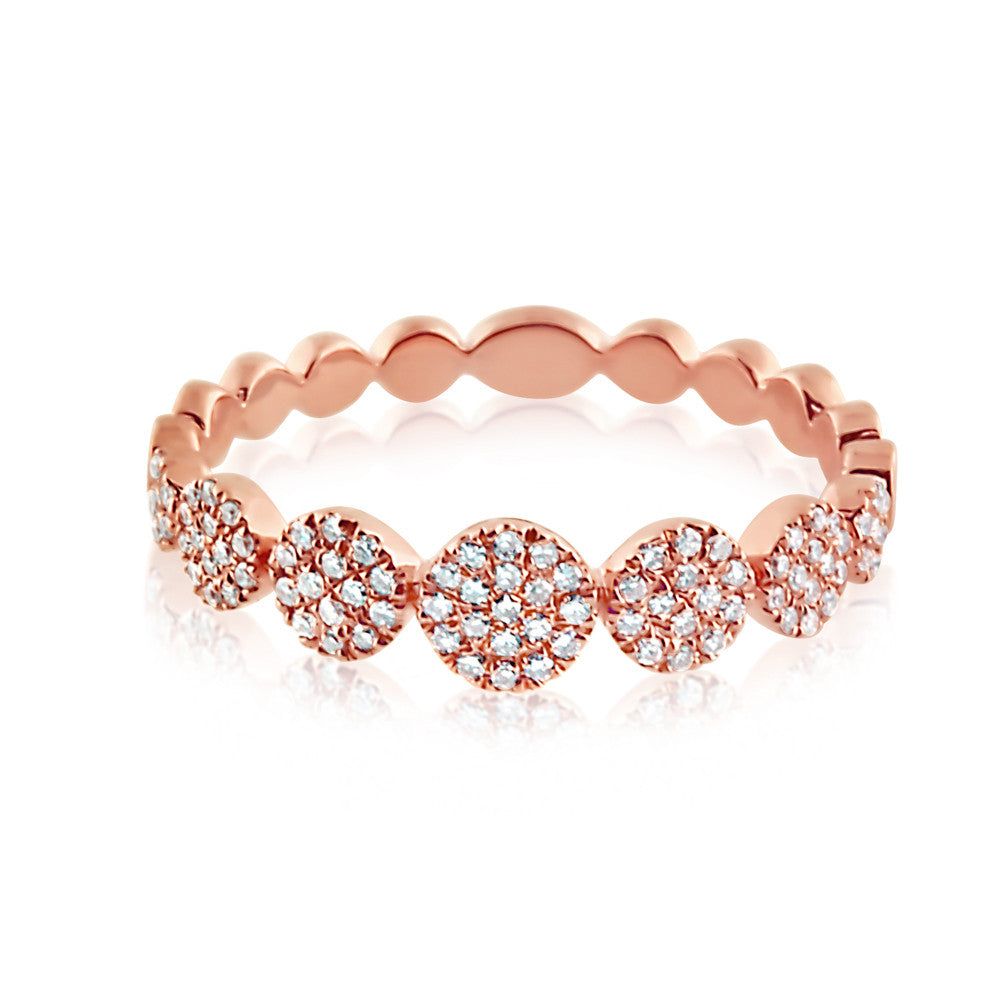 Diamond Disc Band Ring Rose Gold