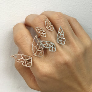 Large Diamond Butterfly Ring Yellow Gold