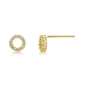 Diamond Circle Earrings Yellow Gold