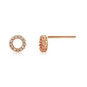 Diamond Circle Earrings Rose Gold