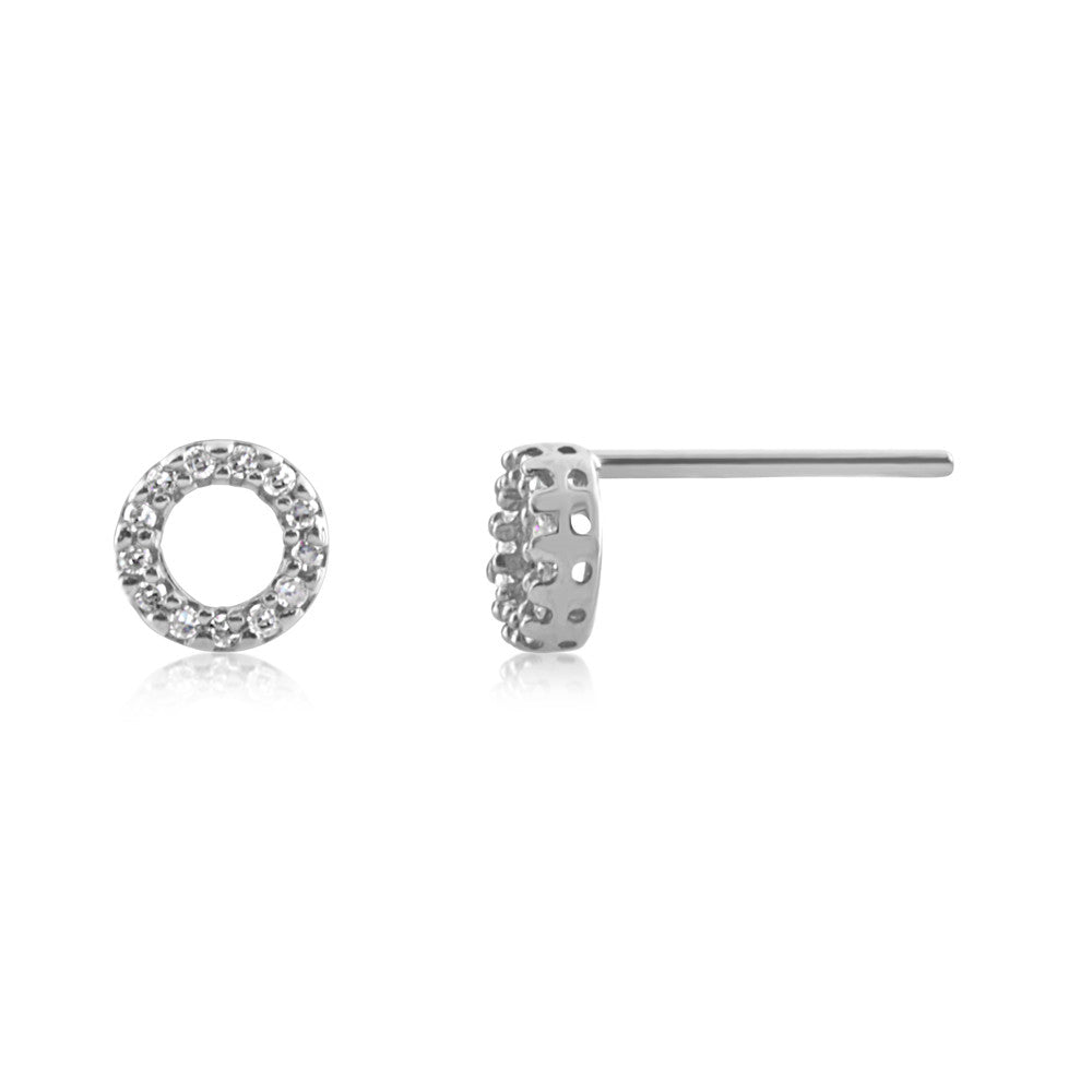 Diamond Circle Earrings White Gold