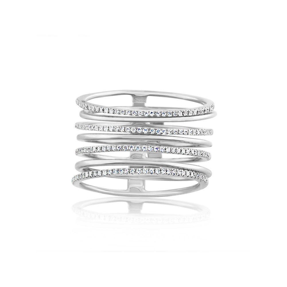 Diamond and Gold Stack Ring White Gold