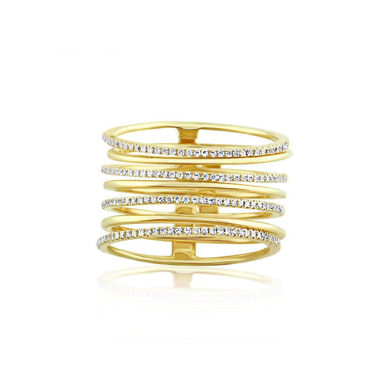 Diamond and Gold Stack Ring Yellow Gold