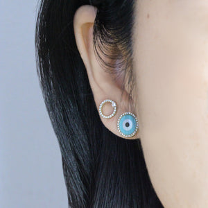 Round Evil Eye Earrings Yellow Gold