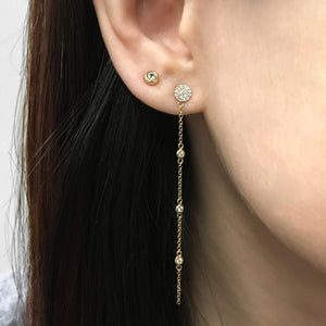 Diamond Disc Drop Earrings Rose Gold