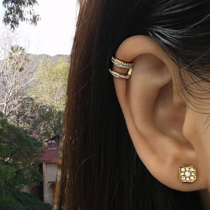 Diamond Helix 3 Row Ear Cuff Yellow Gold