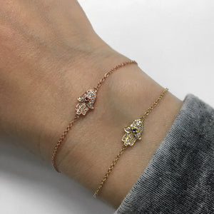 Diamond and Ruby Hamsa Bracelet Yellow Gold