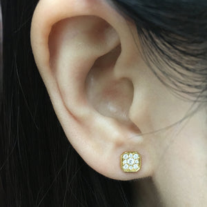 Diamond Asscher Stud Earrings Yellow Gold