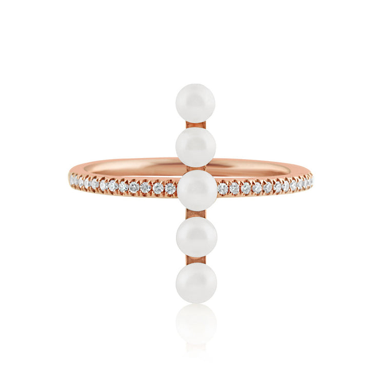 Diamond and Pearl Bar Ring Rose Gold