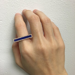 Lapis and Diamond Bar Ring Rose Gold
