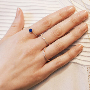 Lapis and Diamond Disc Ring Rose Gold