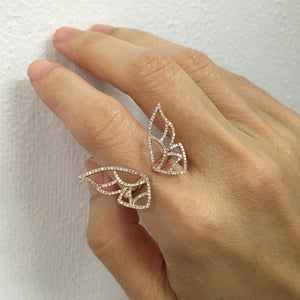 Large Diamond Butterfly Ring Rose Gold