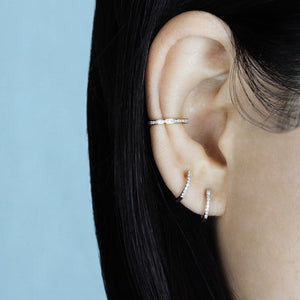 Mini Diamond Hoop Earrings Rose Gold