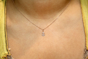 Small Diamond Anchor Necklace Rose Gold