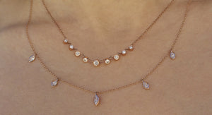 Marquise Diamond Necklace Rose Gold
