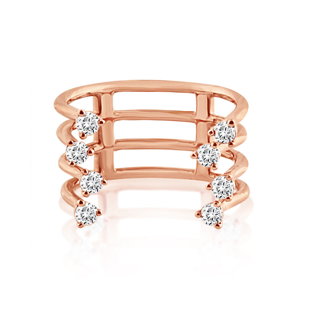 Diamond Orbit Ring Rose Gold