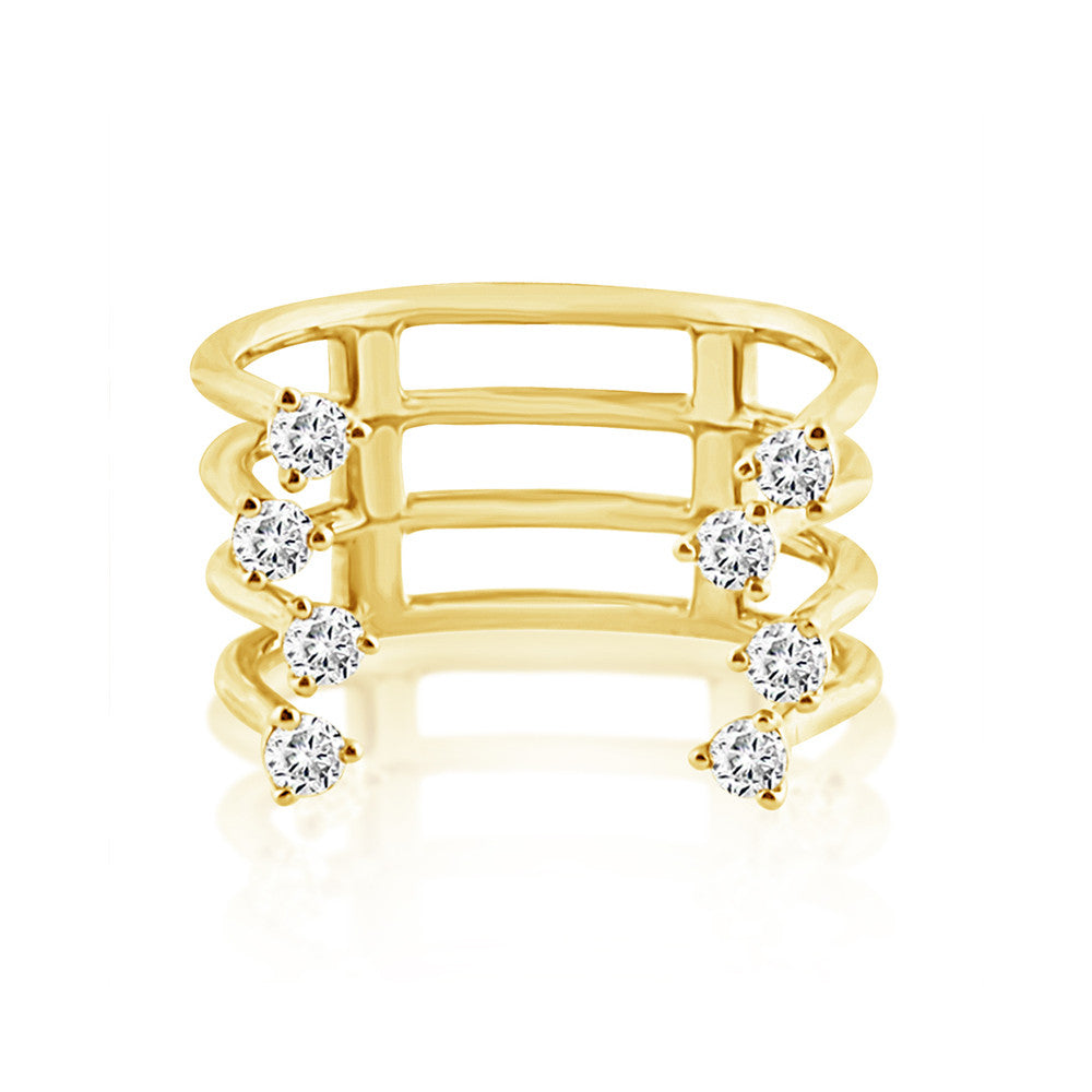 Diamond Orbit Ring Yellow Gold