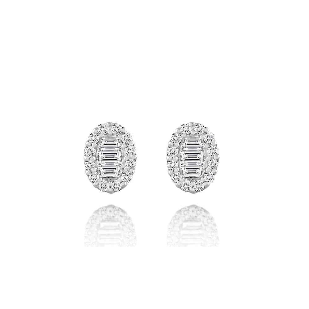Diamond Oval Shape Stud Earrings White Gold