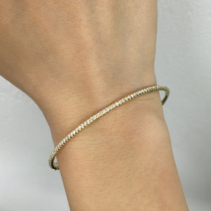 Thin Diamond Bangle White Gold