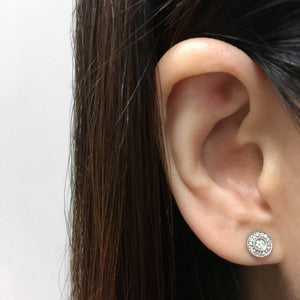 Diamond Halo Earrings Rose Gold