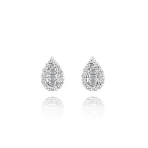Diamond Pear Shape Stud Earrings White Gold