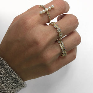 Diamond and Pearl Bar Ring White Gold