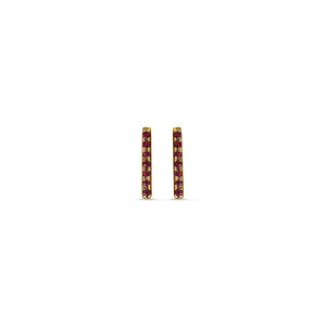 Ruby Bar Earrings Yellow Gold