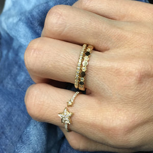 Diamond Hexagon Eternity Ring Yellow Gold