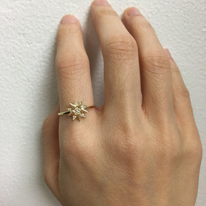 Diamond Three Star Ring Yellow Gold