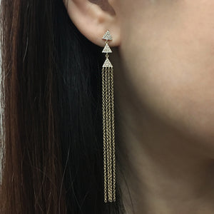 Diamond Triangle Tassel Earrings Yellow Gold