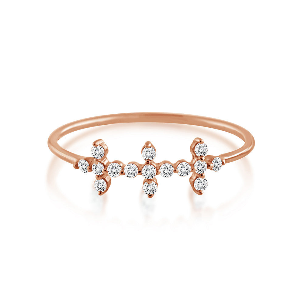 Diamond Triple Cross Ring Rose Gold