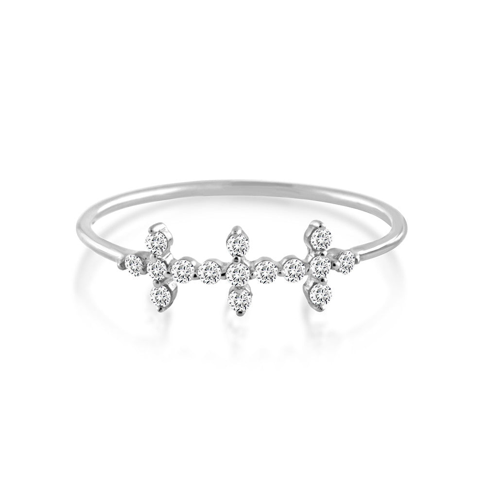 Diamond Triple Cross Ring White Gold