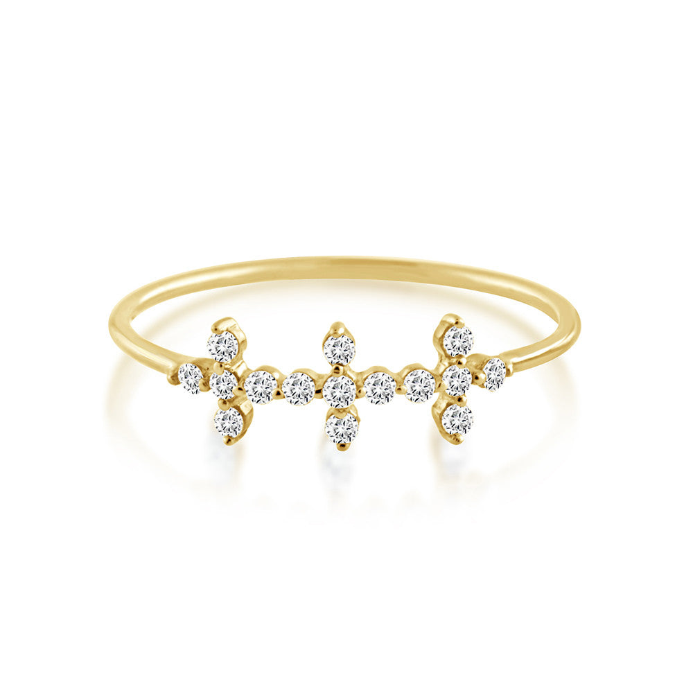 Diamond Triple Cross Ring Yellow Gold