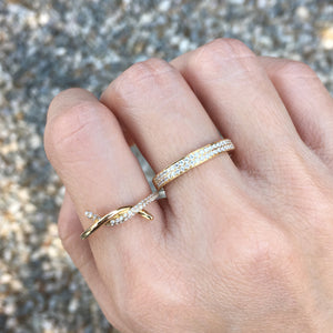 Diamond Double Row Band Ring Yellow Gold