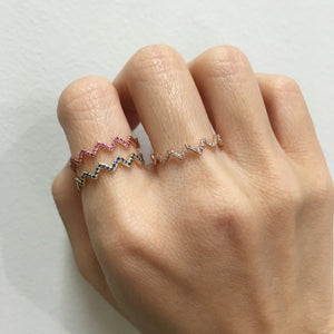 Zig Zag Pink Sapphire Ring Yellow Gold