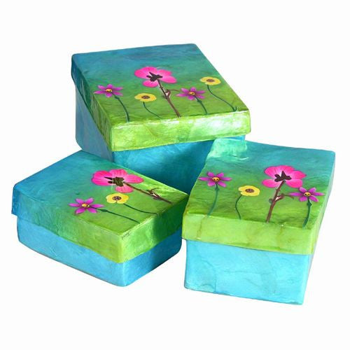 SUNRISE FLOWERS CAPIZ NESTNG BOXES AQUA 3 PIECE SET