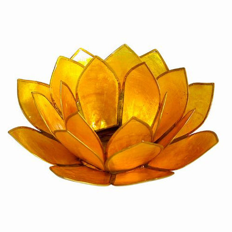 "Lotus Design Capiz Tea Light Holder 5""W (Yellow Gold)"