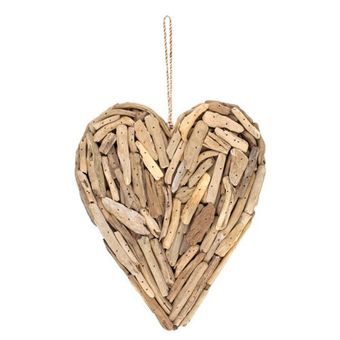 Driftwood Heart with Rope Hanger, Approx. 11 Inches High x 9.5 Inches Wide x ...