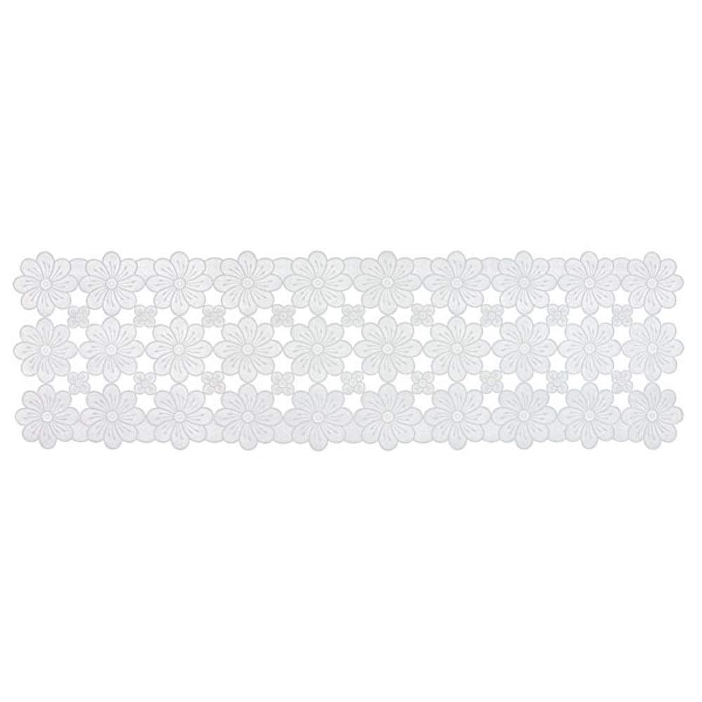 "White Vinyl Floral Table Runner,Table and Dresser Scarf, Cutwork Design 15""x52"""