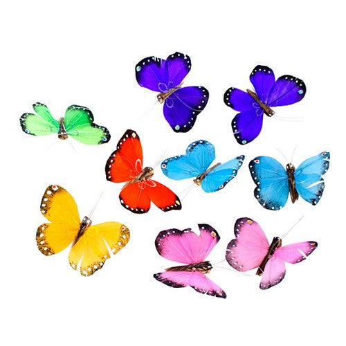 "MULTICOLOR 9 FEATHER BUTTERFLIES GARLAND 78""H"