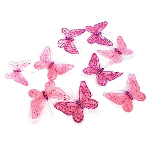 "Pink Butterfly Garland with Glitter 5.25""W x 78""L"